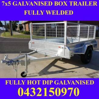 7x5 fully welded galvanised box trailer with mesh cage 1