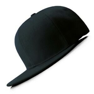 New Hot Black FLAT Peak SNAPBACK Plain Blank Cap Dancer Hat Chapeau #flat #cap