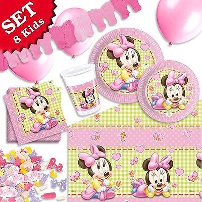 Baby Minnie Mouse Deko Set f. Kindergeburtstag, Partyset kleine Mädchen 57-tlg. ()