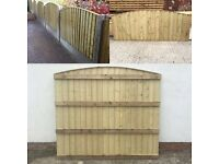 🔨🌟Finest Quality Heavy Duty Pressure Treated Wooden Fence Panels Arch Top