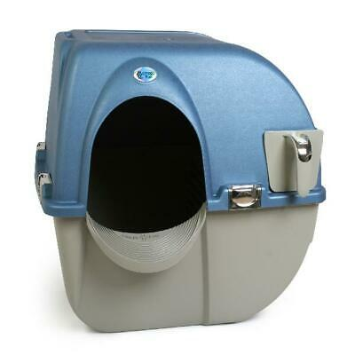 Cat Litter Box Large Omega Paw Premium Roll 'n Clean Self Cleaning Chrome Accent Roll Litter Box