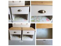 2 pine bedside drawers