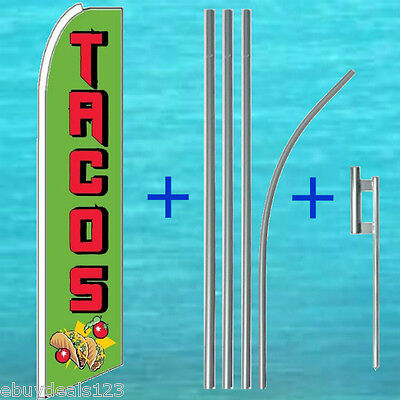 Tacos Flutter Feather Flag 15 Tall Pole Mount Swooper Bow Banner Sign