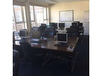 Office equipment, monitors, towers, desks and chairs