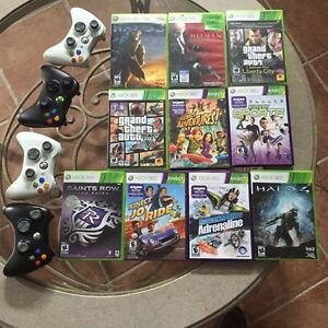Xbox 360, kinect, 10 games and 4 remotes.
