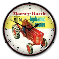 Retro Style Massey Harris Farm Tractor Backlit LED Lighted Man Cave Wall Clock