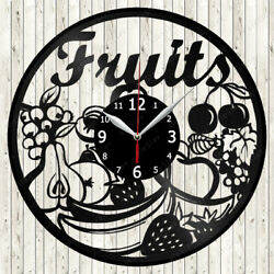 Fruits Vinyl Record Wall Clock Decor Handmade 1670