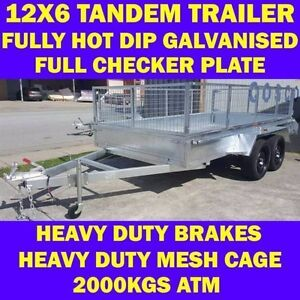 12x6 heavy duty galvanised tandem trailer wth cage 2000kgs 6x12 2 Clayton Monash Area Preview