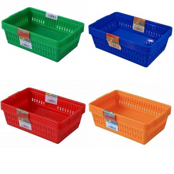 Kitchen Vegetable Storage Baskets: Set Of 5 Colourful Small Plastic Handy Fruit Vegetable