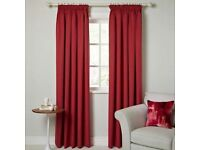 John Lewis Red lined pleated curtains 182cm long x 168cm wide NEW