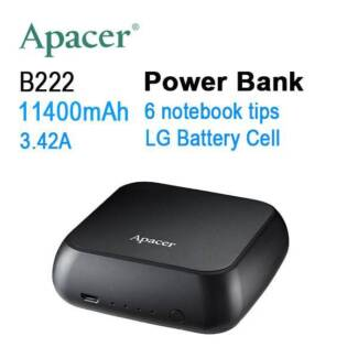 APACER mini NOTEBOOK POWER BANK B222 11400mAh with 6 tips,2x Fast