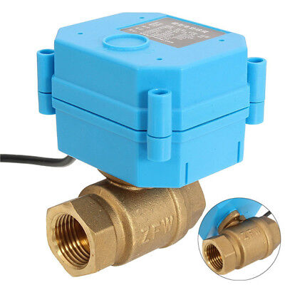 Motorized Ball Valve Brass G12 Dn15 Dc12v 2 Way Cr02 Electrical Valve 3 Wire