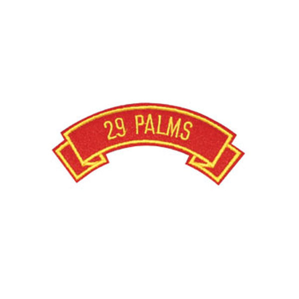 MARINE CORPS BASE 29 PALMS  MILITARY EMBROIDERED USMC RED SHOULDER ROCKER PATCH