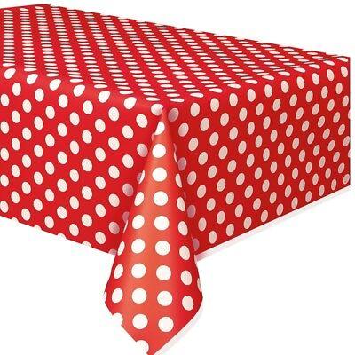 Tischdecke im Punkte-Design, rubinrot und weiss gepunktet, Folie, 137cm x 274cm