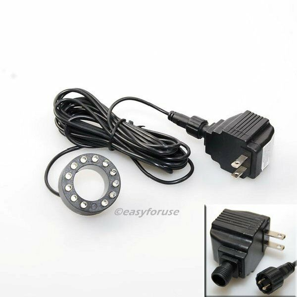 Underwater 12-LED Light Ring 4 Fountain Fish Pond Water Garden with Transformer