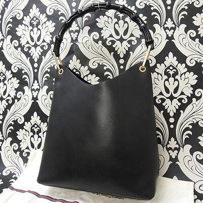 Rise-on GUCCI Black Leather Bamboo Handle Hobo Handbag Shoulder Bag #27