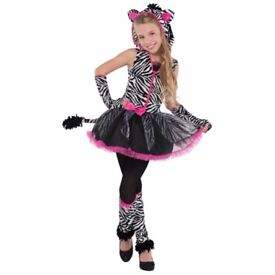 GIRLS ZEBRA FANCY DRESS OUTFIT AGE 13/14 YEARS IS MISSING A GLOVE PARTY OR HALLOWEEN