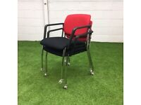 Mobile Stacking Meeting Chair by OCee Design Red and Black 9 available
