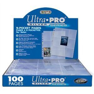 Box 100 Ultra PRO Silver 9-Pocket Gaming/Trading Card Album Pages/Binder Sheets