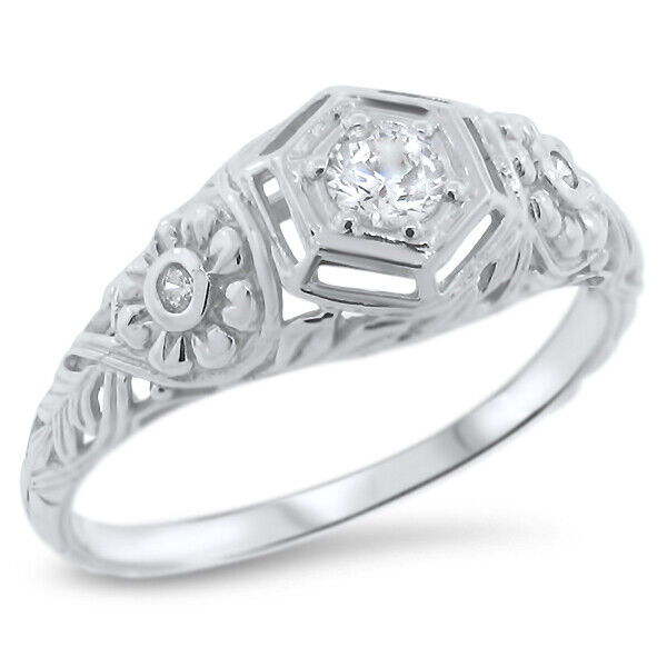 ENGAGEMENT WEDDING ANTIQUE STYLE 925 SILVER CUBIC ZIRCONIA RING SIZE 7      #839
