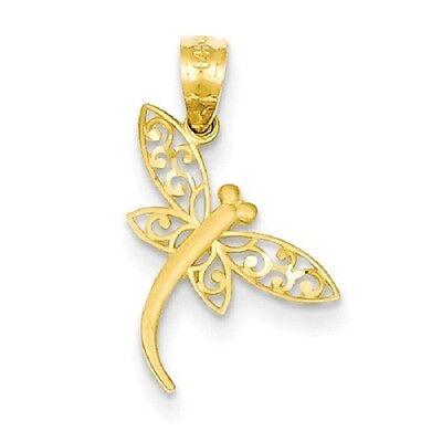 14k Gold Satin Finish (14k Yellow Gold Satin Finish Diamond-cut Dragonfly 21x13mm Pendant /)