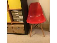 Red Eames DSW dining side chair