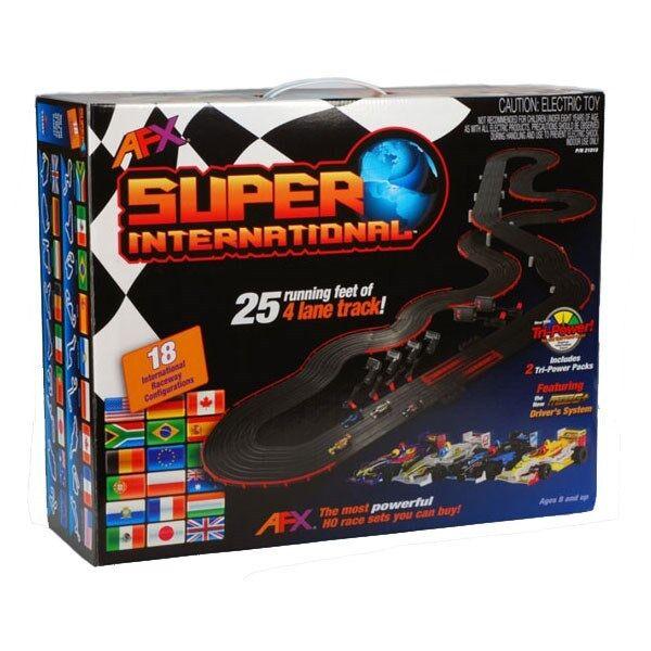 Photo AFX Super International 4-Lane Mega G+ HO Slot Car Track Set w/Tri-Power FREE SH