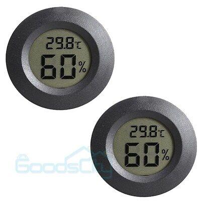 2Pcs Digital Cigar Humidor Hygrometer Thermometer Temperature Round Black Face