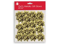 TWIN PACK OF 20 x gift bows METALLIC GOLD FREE POSTAGE TO UK MAINLAND