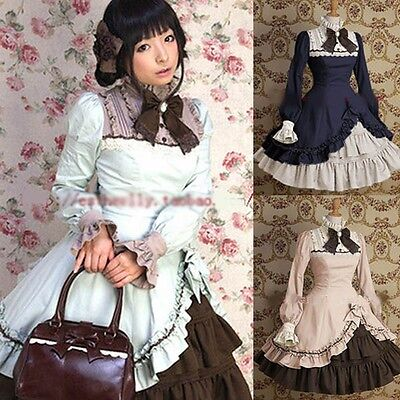 Ladies Victorian Lolita Gothic Barbie Palace Retro Bow Collar Princess - Barbie Dress Adult
