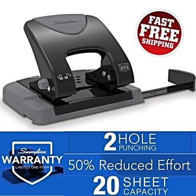 Swingline Smarttouch 2 Hole Punch Reduced Effort 20 Sheet Capacity Office Compac