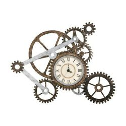 Mechanical Gear Wall Art Clock Home Decor Rustic Contemporary Industrial Metal