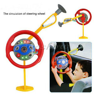 kids backseat driver pretend play car steering wheel toy lights horn sounds