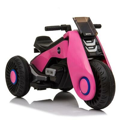 White 12V Electric Motorcycle Kids Ride on Cars Toy 3 Wheels Double Drive PINK