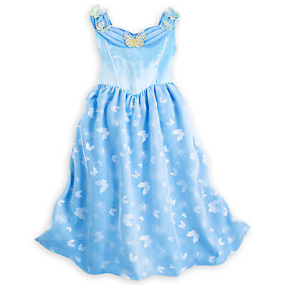 Nwt Disney Store Cinderella Deluxe Nightgown Butterfly 4 5 6 7 8 Girl