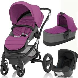 Brand new in box pushchair system with frame, pram and car seat and purple cover accessory