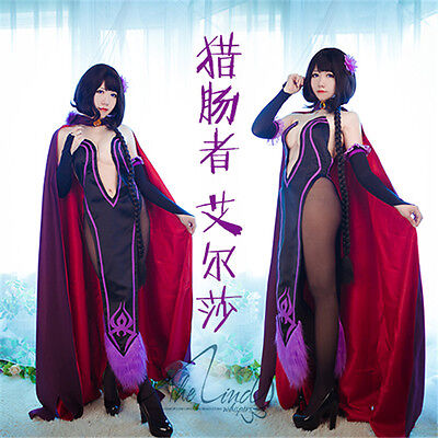Anime Re Zero Elsa Granhiert  Cosplay Costume Sexy Purple Uniforms (Sexy Kostüm Elsa)
