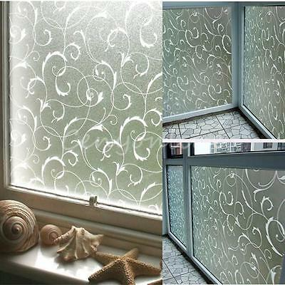 45x100cm Frosted Glass Window Sticker Film Privacy Flower Static Cover Adhesive