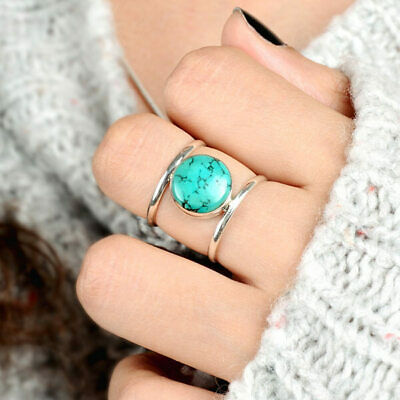Turquoise Ring Sterling Silver Boho Jewelry for Women Blue Stone Gemstone Real