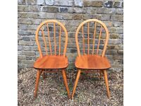 Pair of Ercol Windsor 370 Chairs (Blonde) c1963 (vintage)