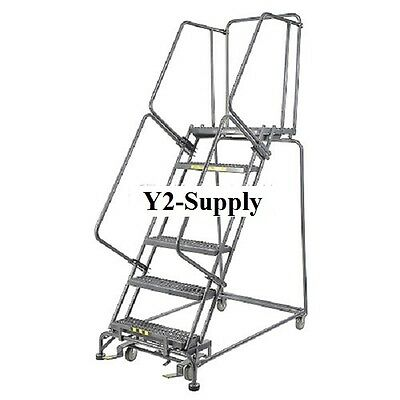 New Perforated 16w 6 Step Steel Rolling Ladder 14d Top Step