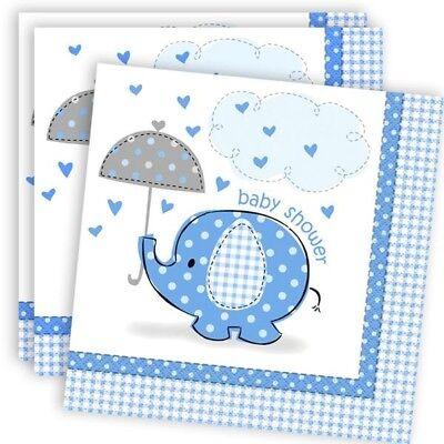 Servietten blau, 16er Pack, 33x33 cm (Blaues Baby-elefant)
