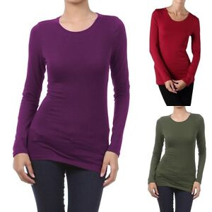 Womens basic long sleeve t shirt 95 cotton 5 spandex solid for 95 cotton 5 elastane t shirt