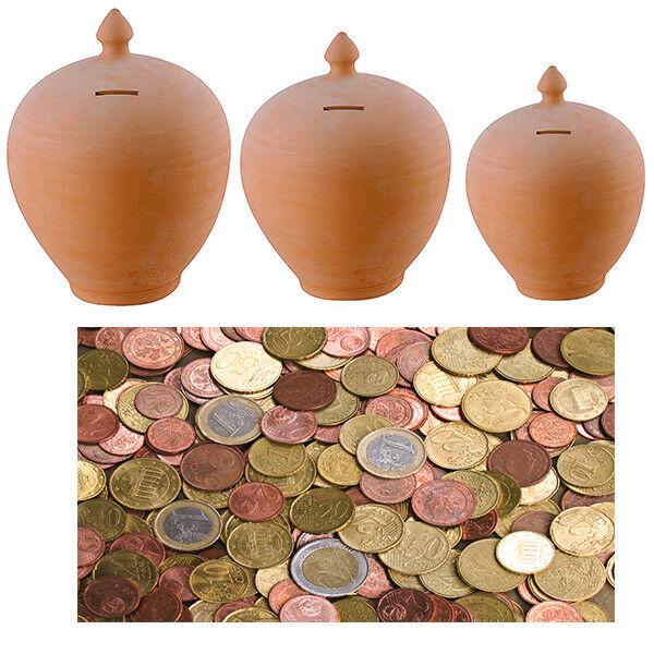 Salvadanaio In Terracotta Risparmia Monete Soldi Salvadenaro Decorare Casa 583