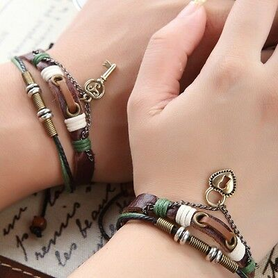 His & Hers Lock and Key Couples Bracelet Lovers Braclet Friendship CP-367