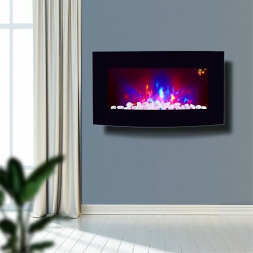 2021 TRUFLAME 7 COLOUR LED BLACK GLASS ARCHED ELECTRIC WALL MOUNTED FIRE