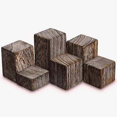 Wooden Riser Displays For Rings Or Small Jewelry Set Of 6 Weathered Brown