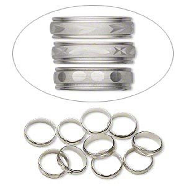 Rings Silver Etched Mixed Size 6-9 Dress Up Pretend Play Jewelry Bulk Lot of 20
