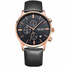 MEGIR 2011 Luxury Brand Chronograph Watch with Black Leather Strap For Men