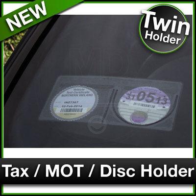 DOUBLE TWIN Car Van MOT / TAX DISC HOLDER Black Plastic Road Tax Protector NEW